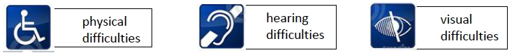 Symbols for Physical Difficulties, Hearing Difficulties and Visual Difficulties