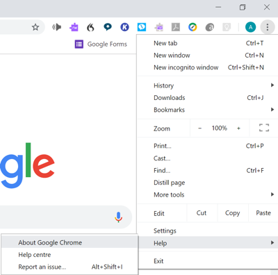 Screenshot showing how to check version of Chrome browser