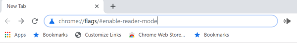 Illustration showing where to type instruction to enable reader mode in Chrome