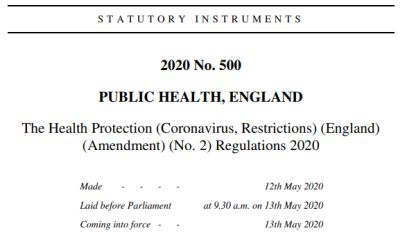 Screen shot of Coronovirus legislation PDF