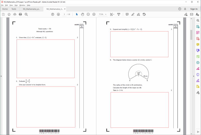 screen shot of pages printed with Adobe Reader