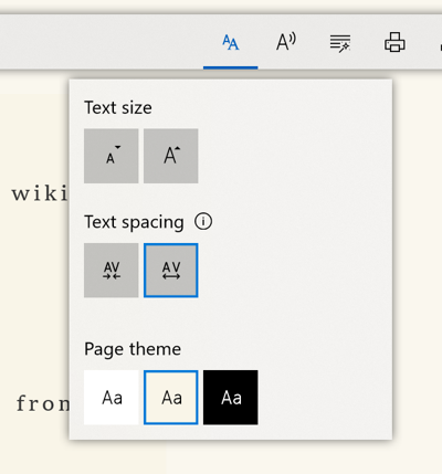 Text settings in Microsoft Edge