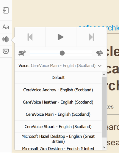 Text to speech options for Reader View in Firefox