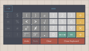 The ModMath keyboard, showing further mathematical symbols.