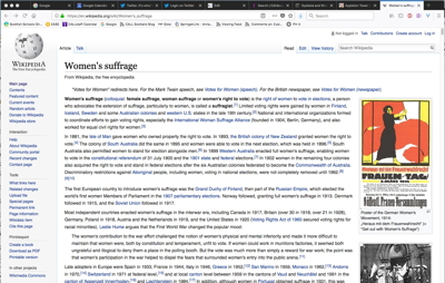 Wikipedia page in standard view