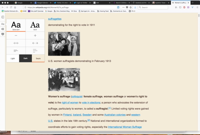Wikipedia page in reader view