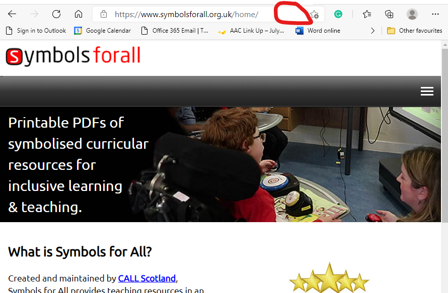 Symbols for All web site in Edge with image of child and text. Empty space where Immersive Reader icon outlined with red.