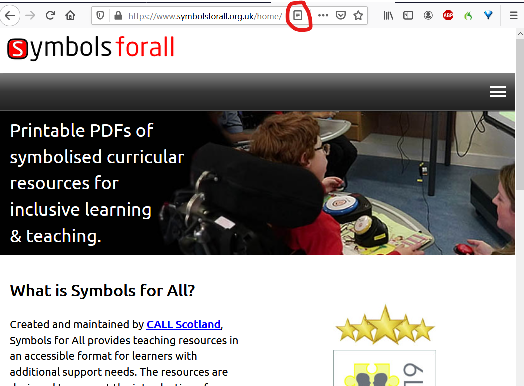 Symbols for All web site in Firefox with image of child and text. Reader view icon outlined with red.