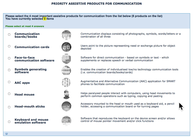 Communication Priority Options: Communication Boards. Communication Cards, Communication Software, Symbol Generating Software, AAC Apps, Head Mouse, Head-mouth sticks, Keyboard / Mouse Emulation software