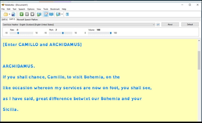 Screenshot of text formatted by Balabolka