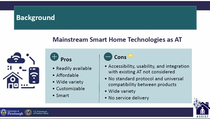slide showing pros and cons of mainstream smart home technologies as AT