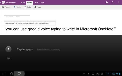 Google Voice Type with Microsoft Onenote