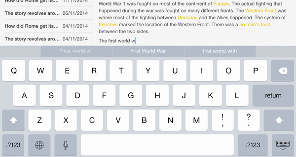 QuickType with word prediction