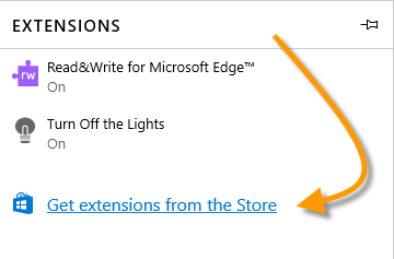 Extensions from Microsoft Store