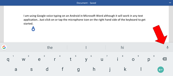 Google voice typing with text