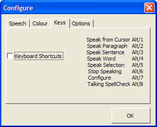 WordTalk shortcut keys