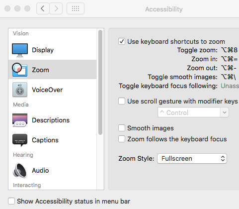 Mac Accessibility Zoom
