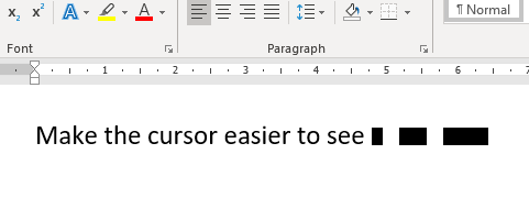Make the cursor easier to see in word