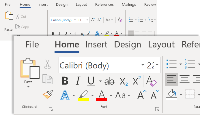 Make text bigger in Word example