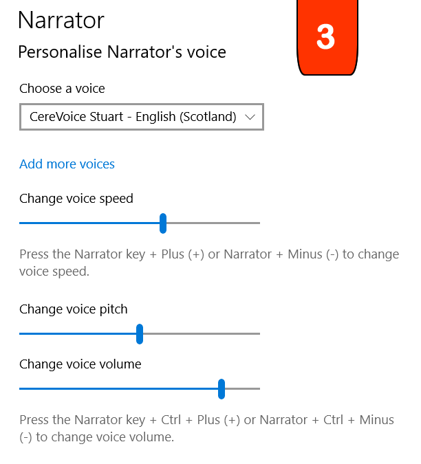 Personalise Narrator's voice